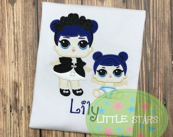 LOL Midnight and Lil Sister Girl Shirt- Embroidered and Personalized