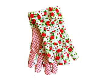 Adorable Floral Rose Garden Gloves - in Red or Blue - with rubber grip spots on palm - Canvas Gardening Gloves with Grip Dots
