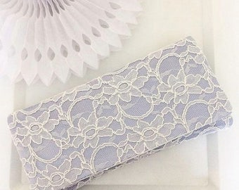Light blue and ivory lace bridal wedding ASTRID clutch purse, bridesmaids, mother of the bride, something blue