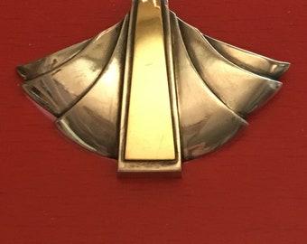 18k 90s Art Deco Style Pendant 750 Gold 950 Silver