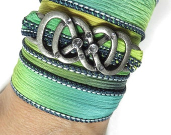 Infinity Silk Wrap Bracelet Yoga Jewelry Karma Bohemian Wrist Wrap Jewelry Silk Ribbon Wrap Spiritual Karma Boho Jewelry Stocking Stuffer