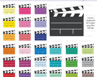 Movie Night Movie Clapboard Digital Clipart - Instant download PNG files