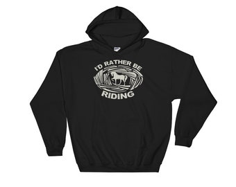 I'd Rather Be Riding Horse Woodcut-Style Hooded Sweatshirt
