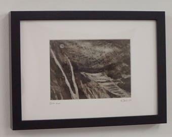 Birch Moon framed ink drawing on canvas by Kyla Dante