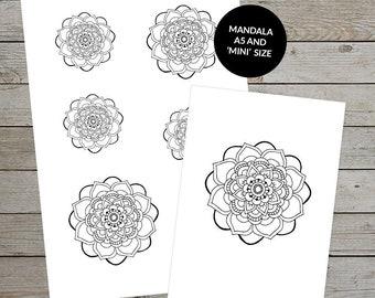 Printable Mandala (No.1) - Hand Drawn Mandala - Ideal For Bullet Journal - A5 and Mini Sizes - Mandala Stickers - Printable Planner Stickers