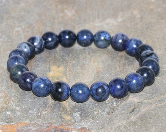A Grade 8mm Dumortierite Bracelet, Throat Chakra Jewelry, Enhance Psychic Gifts - Speak Your Truth - Letting Go of What No Longer Serves You