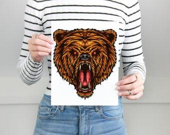 Bear Print, Bear  Wall Print, Bear  Wall Decor, Bear Poster, Bear Poster Print, Bear  Wall Art, Bear Poster Art, Animal Wall Art