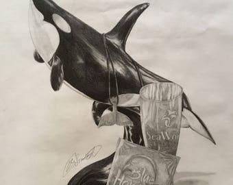 Remenitions of the Past- SeaWorld pencil sketch original print