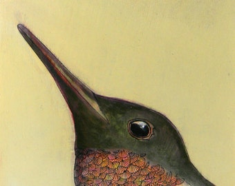 hummingbird portrait bird no. 36 ORIGINAL mixed media bird painting on cradled birch 6 x 6