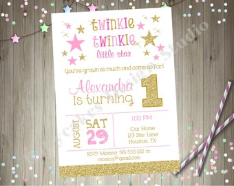 Twinkle Twinkle Little Star 1st birthday invitation twins siblings pink aqua gold Party Printable Invitation