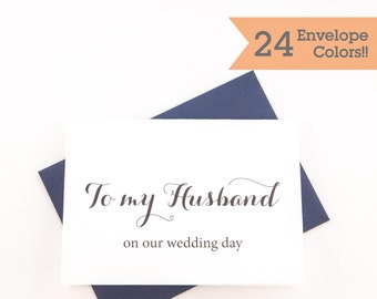 To My Husband on our Wedding Day Card, On My Wedding Day Cards, Printed Cards with Envelopes (WC004-CA)