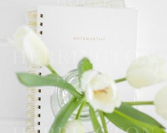 Business stock photography | White stock image - Tulips stock photo - Notebook stock photo - Flower stock photo - Minimalist stock image