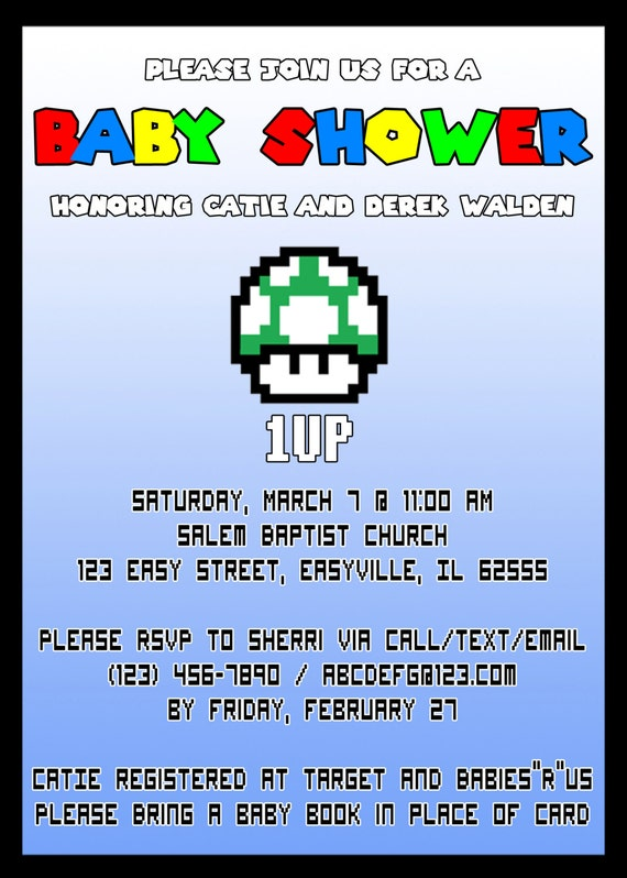 Items Similar To Super Mario Baby Shower Invitation   Digital Download On  Etsy
