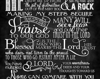 Scripture Chalkboard Art - Psalm 40:1-5