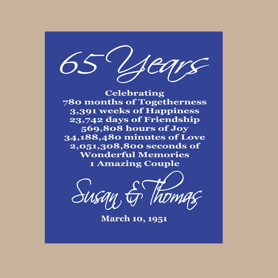 65 Wedding Anniversary Gift: 65th Anniversary Print Sapphire Anniversary Parents