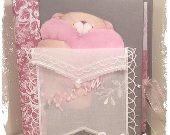 Album shabby baby girl pink gray and white