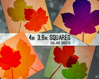 """Fall Leaves Autumn Leaf 3.8"""" and 4x4 Inch Square Digital Collage Sheet Printable Scrapbooking Greeting Card Coasters Gift Tags JPG"""