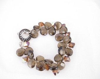 Bracelet smoky quartz briolettes and Swarovski crystals gemstone bracelet bridesmaid gift, gift for her, contemporary modern mystic quartz
