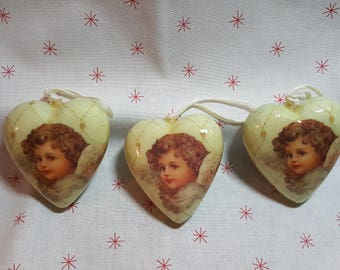 Vintage Decoupage Victorian Angel Heart Ornaments ~ Current Inc.