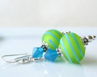Tropical Margarita lampwork earrings in sterling silver