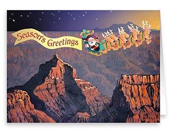 Season's Greetings Grand Canyon Christmas Card - 18 Cards & Evnelopes - KX155a