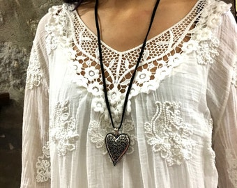 Valentines heart necklace, heart Choker, Large heart pendant, silver heart pendant, filigree necklace, Long suede Necklace- AFN 127