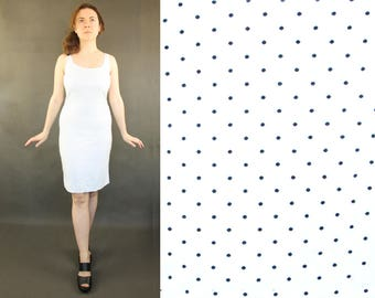 Summer dress Womens casual, polka dot white everyday dress holiday vintage clothing S small