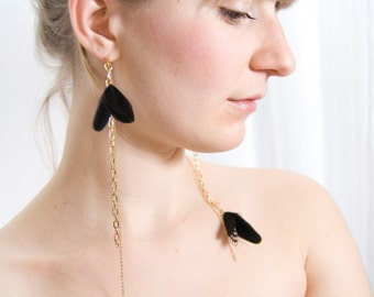 Dangle Feather Earrings. Polka Dots Black and White Feather Earrings. Statement Asymmetrical Earrings. Night Butterfly