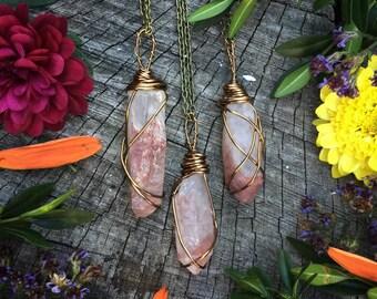 Harlequin Quartz necklace, hematoid quartz necklace,  inclusion quartz ,  quartz cluster,  crystal