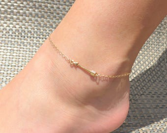 Gold Arrow Anklet, Silver Arrow Anklet, Arrow Ankle Bracelet, Tiny Arrow Anklet, Minimalist Style Jewelry, Dainty Gold Anklet, Gold Filled.