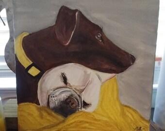 Custom 12x12 Pet Portrait Acrylic Painting