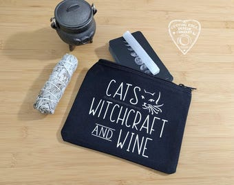 Cats Witchcraft And Wine Black Canvas Zipper Bag | Tarot Gift | Wine Lover | Witch Gift | Witchcraft | Witch | Cat Lover Gift