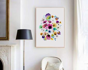 Floral Watercolor Print, Printable Art, Floral Watercolor Art, Watercolor Painting, Watercolor Wall Art, Floral Watercolour Print