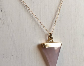 Rose quartz pendant necklace, gold pendant necklace, rose quartz triangle necklace, arrowhead necklace