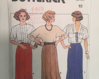 Size 10 Misses Straight Fitted Pleated SKIRT Butterick #3186 Vintage