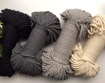 Grey/Black/Natural XL macrame cord bundle, neutrals, 90 meters, 300 feet, 5mm thick, macrame rope, macrame supplies, coloured cord