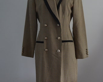 Vintage 80s Danny & Nicole Houndstooth Pattern Dress Long Coat Jacket