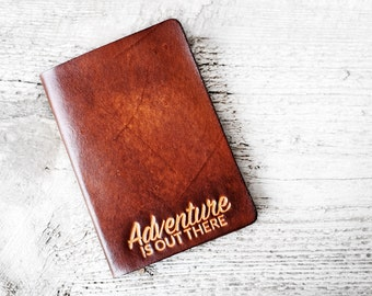 Personalized Leather Passport Cover Adventure Is Out There Travel Gift, Passport Holder Graduation Gift Adventure Quote, Travel Quote