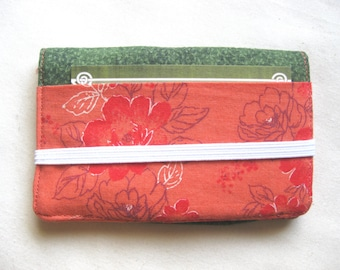 Business Card Holder Mini Wallet- Bifold Inside Outside Wallet in Peach Pink Coral Flower with Dark Green Fabric