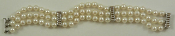 Cultured White 6mm - 6.5mm Pearl Bracelet with 14k White Gold Clasp and Bars 7 Inches