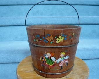 Vintage Jack and Jill WOODEN PAIL