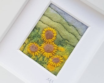 Sunflowers felted and embroidered original artwork - felted wool art in miniature