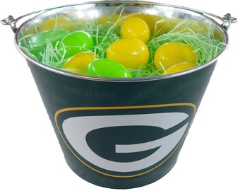 Green Bay Easter Basket NFL - with Eggs and Team Color Grass