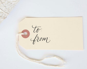 To and From Rubber Stamp Size 1.5 x 1.5 for Holiday Wedding Party Christmas Shower Gift Tags
