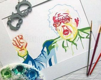 Bernie Sanders Print, Bernie Sanders Watercolor, Watercolor Print, Bernie Sanders Portrait, Bernie Sanders Art, Bernie Sanders Poster
