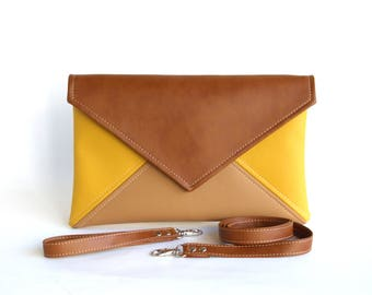 Envelope Clutch Wristlet Mothers Day Gift For Mom Brown Crossbody Bag Yellow Clutch Purse Vegan Leather Bag Evening Bag Bridesmaid Clutch