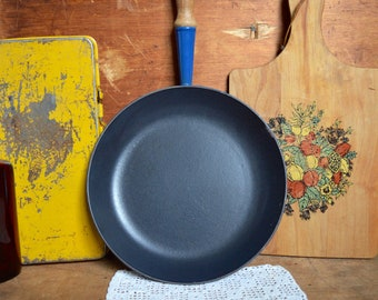 Vintage Blue Le Creuset Cast Iron Enamel Cookware Skillet Frying Pan with Wooden Handle Enamelware France French Cookware 26