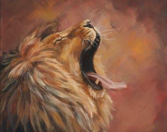 "Original 12"" x 12"" Oil Painting of Lion ""Yawn"""