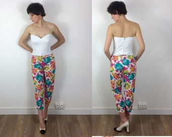 Bright Floral Capri Pin up Summer linen trousers