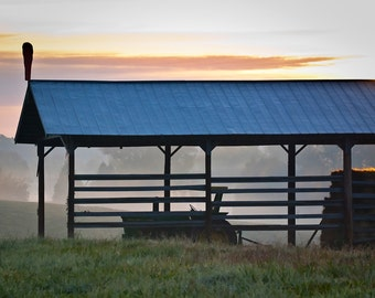 Hay Shed at Sunrise : archival quality fine art photography, horizontal format, landscape, farm life